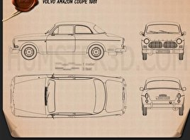 Volvo Amazon coupe 1961 Blueprint