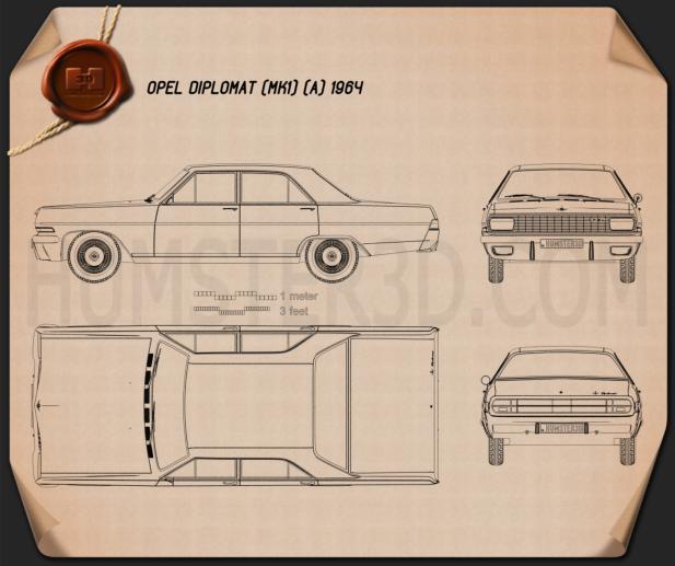 Opel Diplomat (A) 1964 Blueprint