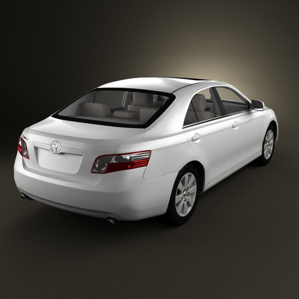 Toyota Camry (XV40) 2008 with HQ interior 3d model back view