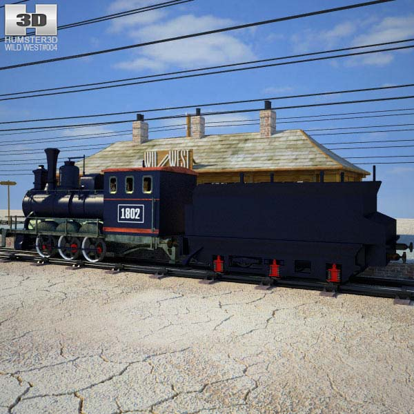 Wild West RailStation with Train Modelo 3D