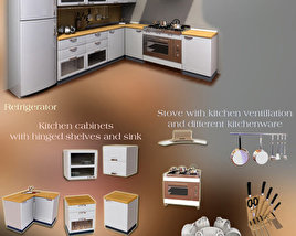 3D model of Kitchen Furniture Set