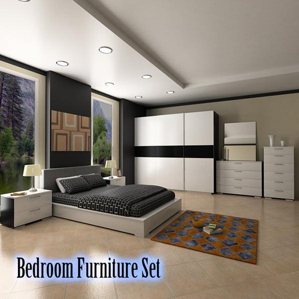 Bedroom furniture set 4 3d model