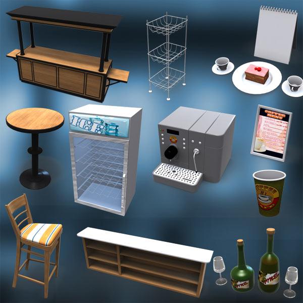 Coffee Cafe Set 3d model