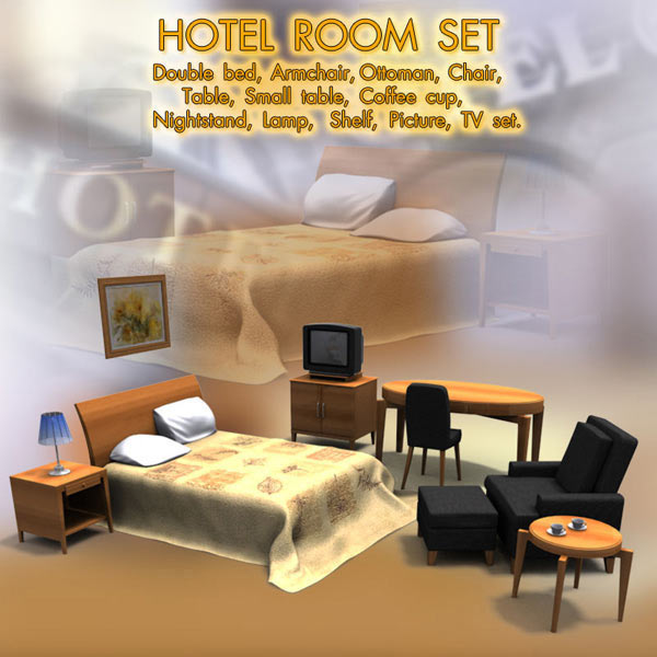 3D model of Hotel Room 01
