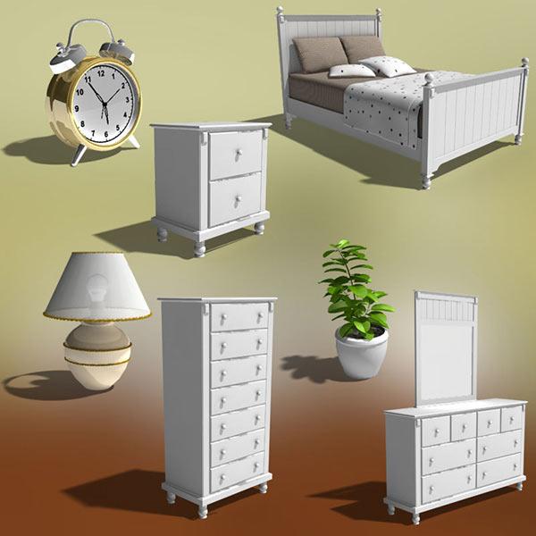Bedroom furniture set 06 3d model