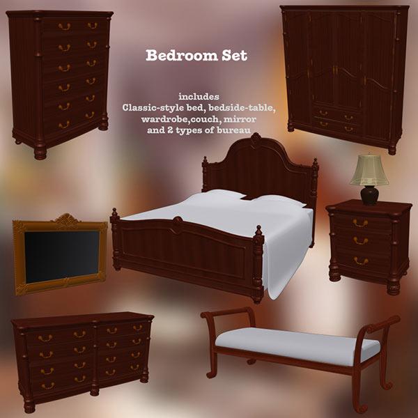 Bedroom set 01 3d model