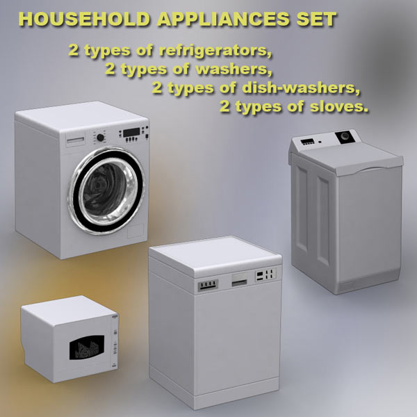 Household Appliances Set 3D model
