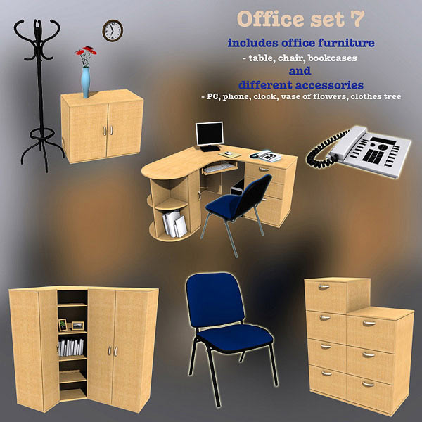 Office Set 07 3D model