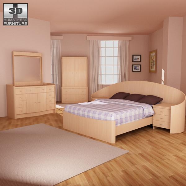 Bedroom furniture set 16 3d model