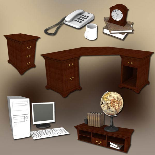 3D model of Home WorkPlace 3 Set