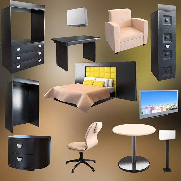 Bedroom furniture set 07 3d model
