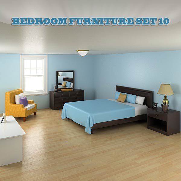 3D model of Bedroom Furniture 10 Set