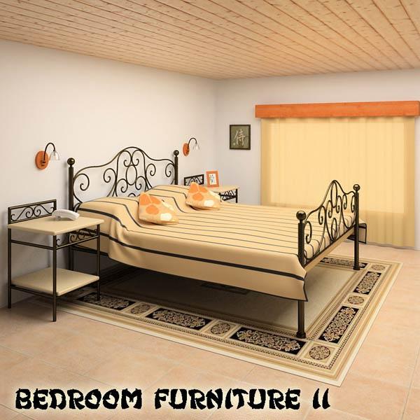 Bedroom Furniture 11 Set 3D model