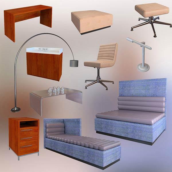 Bedroom furniture set 08 3d model