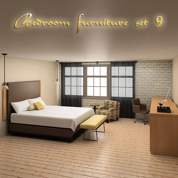 3D model of Bedroom Furniture 09 Set