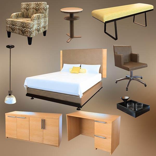 Bedroom furniture set 09 3d model