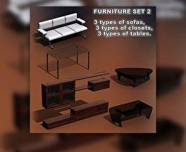 3D model of Furniture Set 02