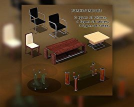 3D model of Furniture Set 01