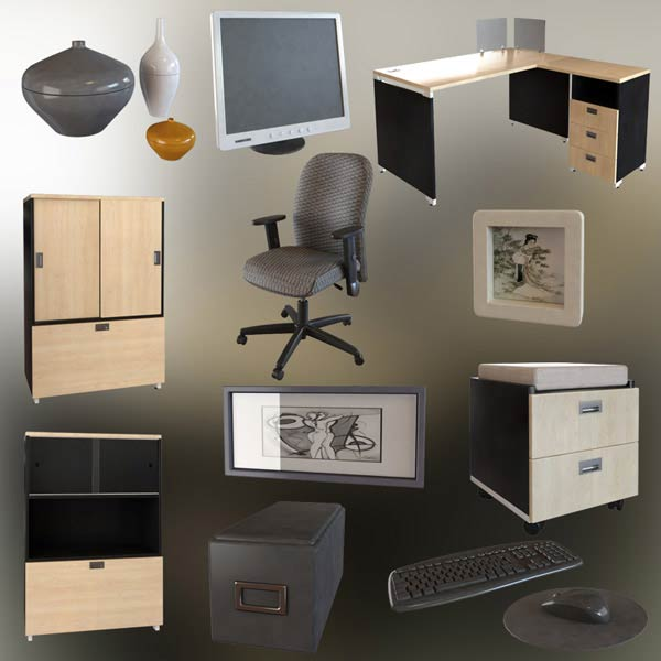 Office Set P06 3d model