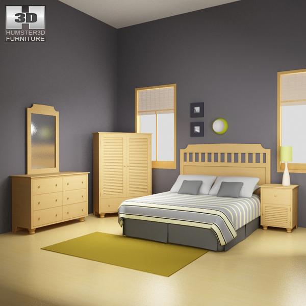 Bedroom furniture set 20 3D model