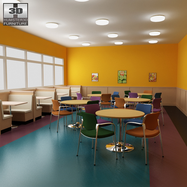 Dining room 04 Set - A Fast food Restaurant Furniture 3D model