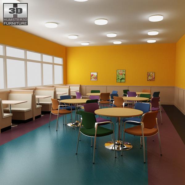 Dining room 04 Set - A Fast food Restaurant Furniture 3d model
