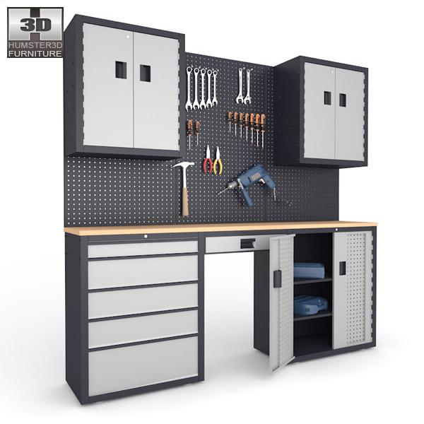 Garage 03 Set - Furniture and Tools 3d model