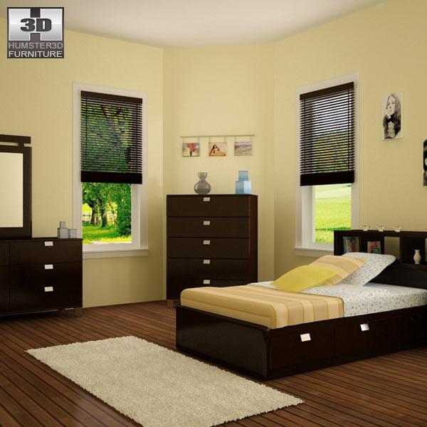 Bedroom furniture set 25 3d model
