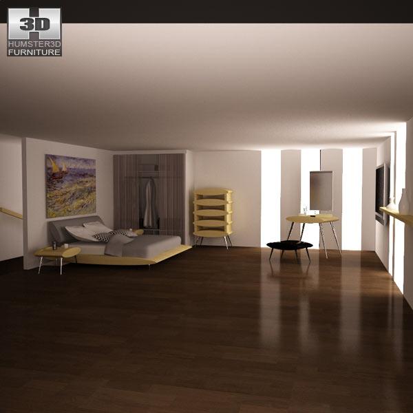 Bedroom furniture set 27 3D model