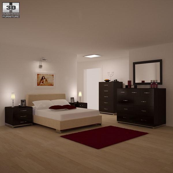 Bedroom furniture set 26 3d model