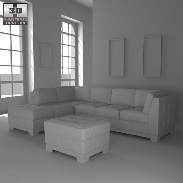 Leather Sectional sofa Set 3d model