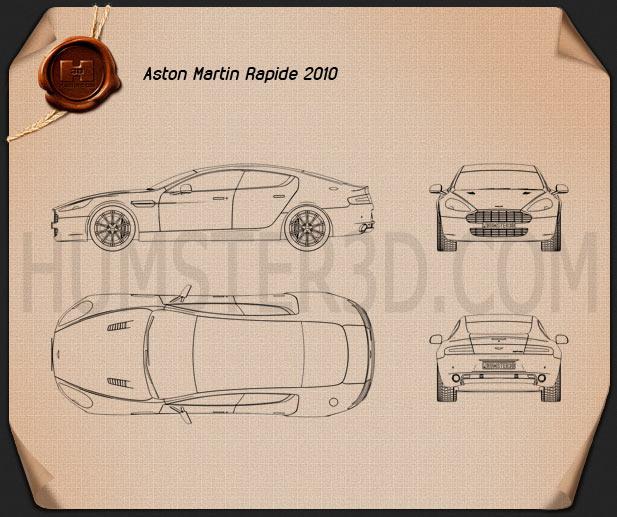 Aston Martin Rapide 2010 Blueprint
