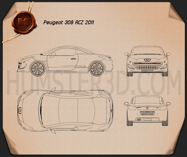 Peugeot 308 RCZ 2011 Blueprint