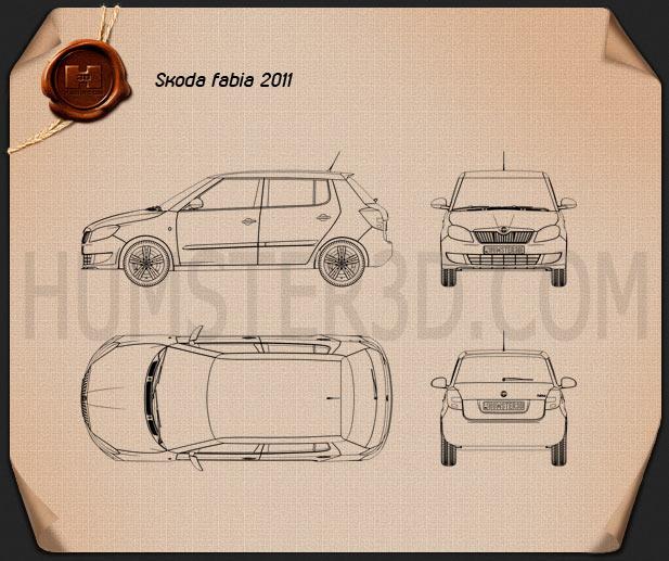 Skoda Fabia 2011 Blueprint