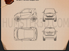 Compact car blueprint 3d models download hum3d smart fortwo 2011 convertible hard top blueprint malvernweather Gallery