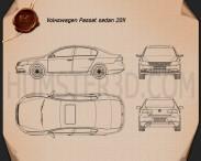 Volkswagen Passat 2011 Blueprint 3d model