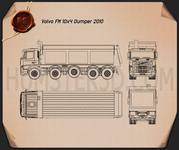 Volvo Truck 10×4 Dumper Truck 2010 Blueprint