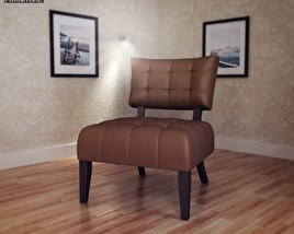 3D model of Beige Microfiber Chair – Allen Park
