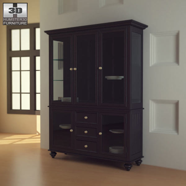 3D model of Black Camden China Cabinet – Lea American Drew