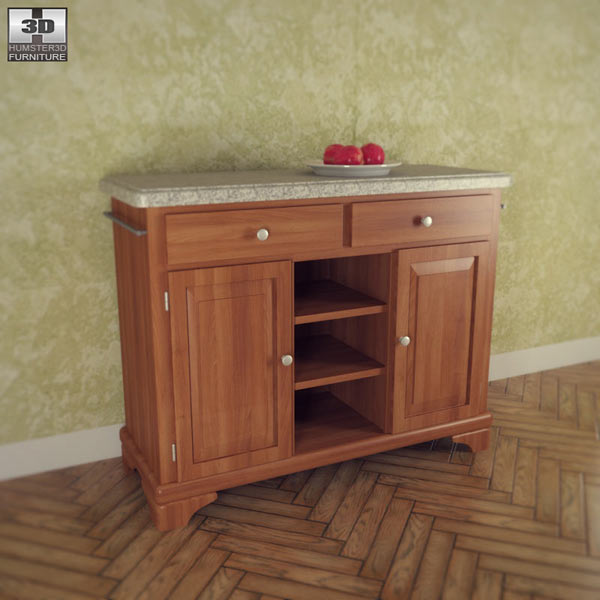 3D model of Buffet with Gray Granite Top in Oak