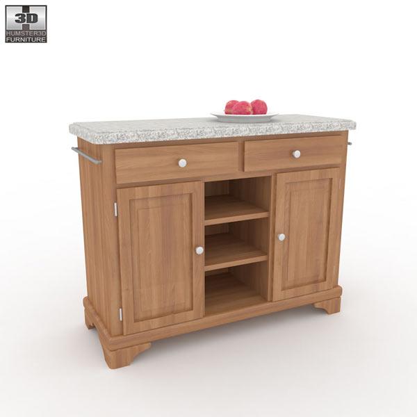 Buffet with Gray Granite Top in Oak 3d model