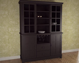 3D model of Buffet and Hutch in Ebony – Arts and Crafts
