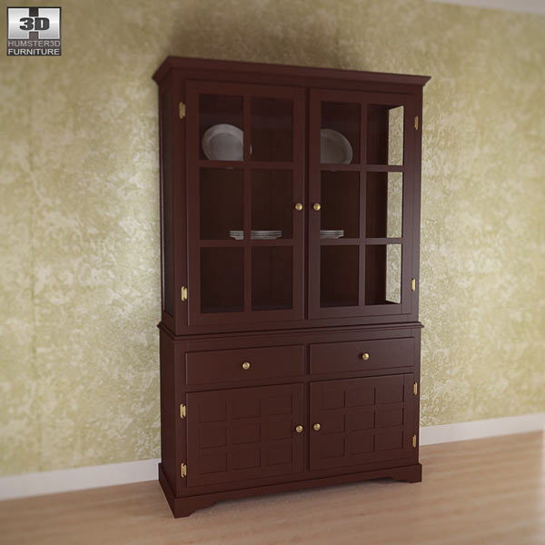 3D model of Buffet and Hutch in Deep Cappuccino – Coaster