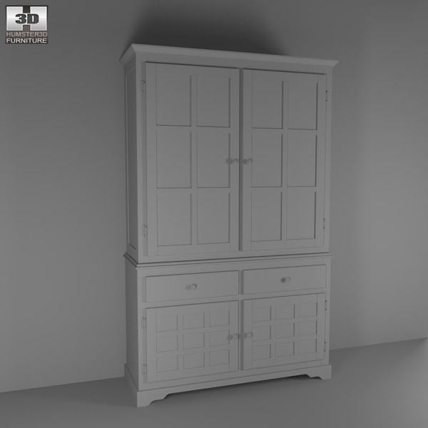 Buffet and Hutch in Deep Cappuccino - Coaster 3d model