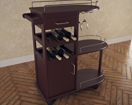 3D model of Entertainment Wine Cart - Winsome Trading