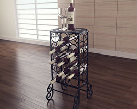 Glass Top Wine Table - Southern Enterprises 3D model