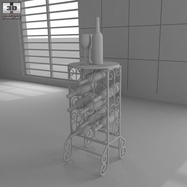 Glass Top Wine Table - Southern Enterprises 3d model