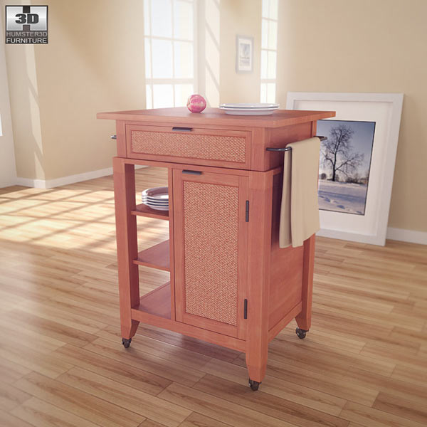 Jamaican Bay Small Kitchen Cart 3d model