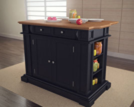 3D model of Kitchen Island in Black with Oak Top