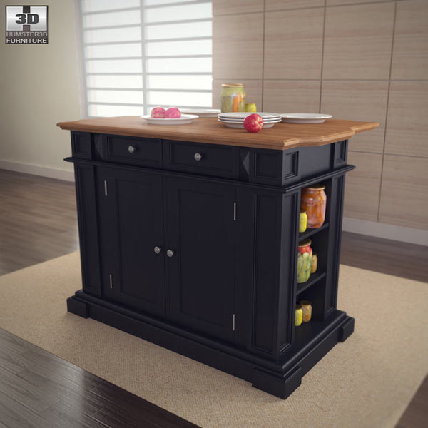 Kitchen Island in Black with Oak Top 3D model